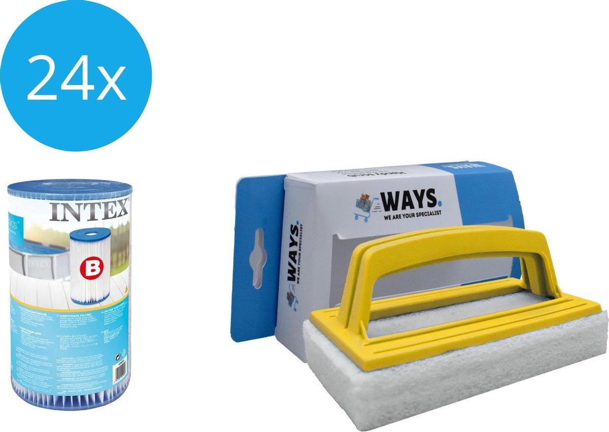 Intex - Filter type B - 24 stuks - Geschikt voor filterpomp 28634GS & WAYS scrubborstel