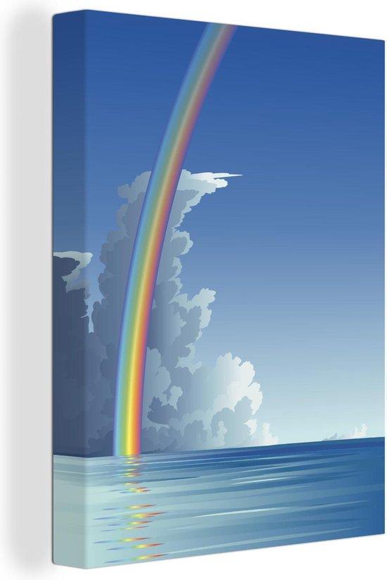 Een illustratie van een regenboog boven de zee canvas 60x80 cm - Foto print op Canvas schilderij (Wanddecoratie woonkamer / slaapkamer) / Natuurverschijnsels Canvas Schilderijen