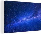 Melkweg bij een blauwe hemel 180x120 cm - Foto print op Canvas schilderij (Wanddecoratie woonkamer / slaapkamer) XXL / Groot formaat!
