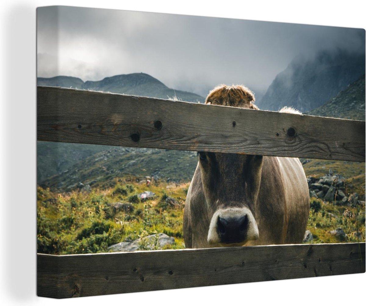 Alpen koe achter een hek canvas 30x20 cm - klein - Foto print op Canvas schilderij (Wanddecoratie woonkamer / slaapkamer) / Boerderijdieren Canvas Schilderijen