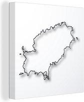 Een illustratie van een kaart van Ibiza canvas 90x90 cm - Foto print op Canvas schilderij (Wanddecoratie woonkamer / slaapkamer)