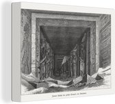 Een illustratie van het interieur van de tempel van Aboe Simbel canvas 40x30 cm - klein - Foto print op Canvas schilderij (Wanddecoratie woonkamer / slaapkamer)