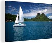 Zeilboot vaart langs de groene kust 30x20 cm - klein - Foto print op Canvas schilderij (Wanddecoratie woonkamer / slaapkamer)