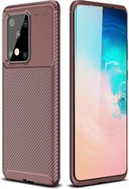 Samsung Galaxy S20 Ultra - Hoesje TPU Flexibele beschermhoes - Carbon Fibre brons
