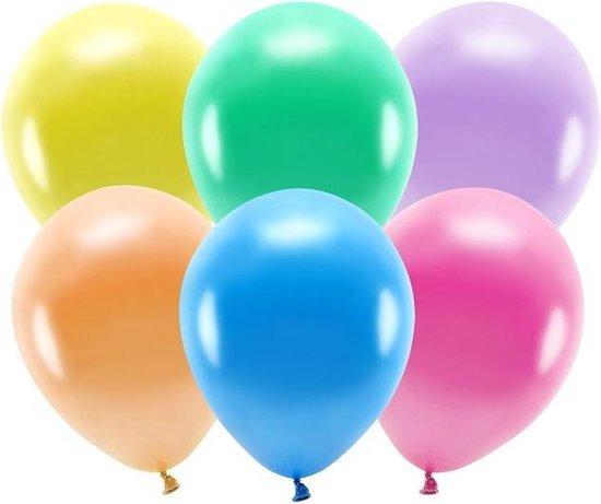 100x Gekleurde mix ballonnen 26 cm eco/biologisch afbreekbaar - Milieuvriendelijke ballonnen - Feestversiering/feestdecoratie - Gekleurd thema - Themafeest versiering