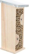 Bijenhotel van hout en gegalvaniseerd metaal, 11 × 14 × 30cm