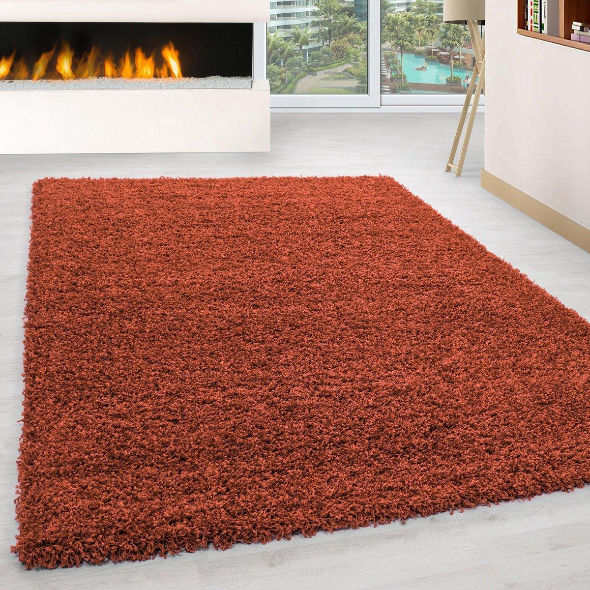 Oranje Tapijt Hoogpolig Vloerkleed Omid Essential 160x160cm Rond Modern Woonkamer Salon Slaapkamer Eetkamer