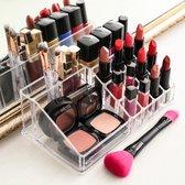 relaxdays make-up organizer - tweedelig - cosmetica opbergdoos + lippenstift houder roze