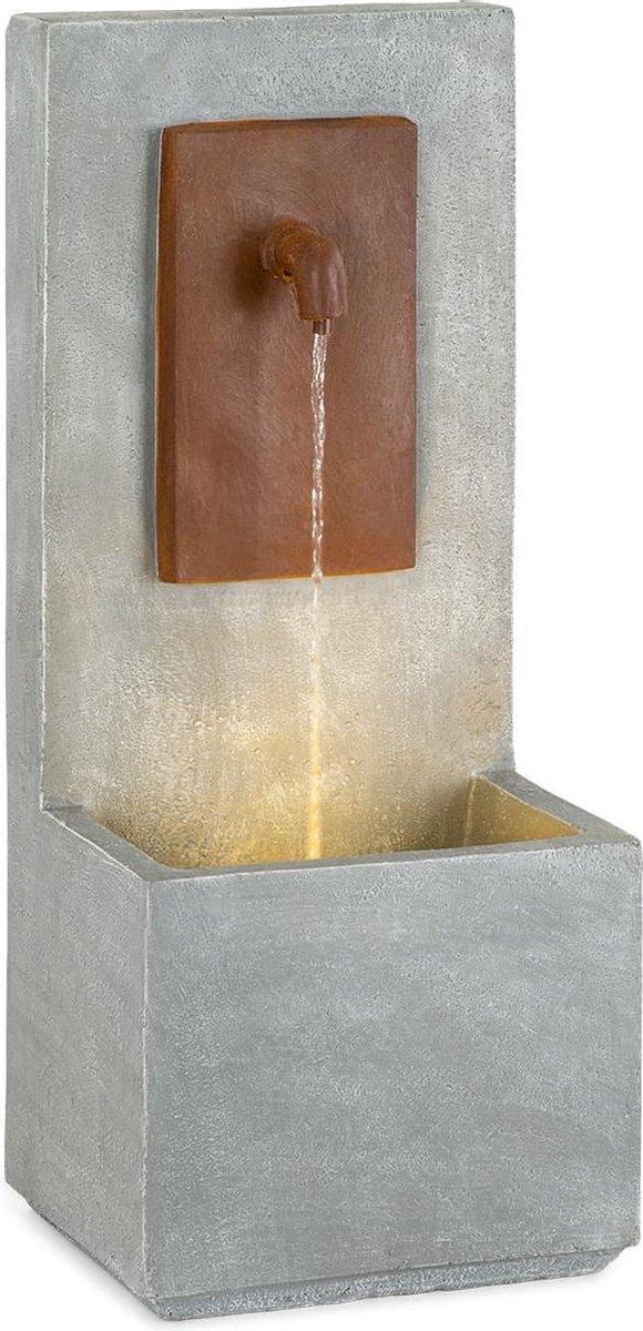 Blumfeldt Milos fontein voor binnen en buiten - LED-verlichting warmwit - pomp 7 watt - 5 m kabel - cement - grijs