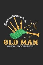 Old man with bagpipes: 6x9 Bagpipe - grid - squared paper - notebook - notes