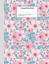 Composition Book Wide-Ruled Cheerful Japanese Cherry Blossoms: Class Notebook for Study Notes and Writing Assignments