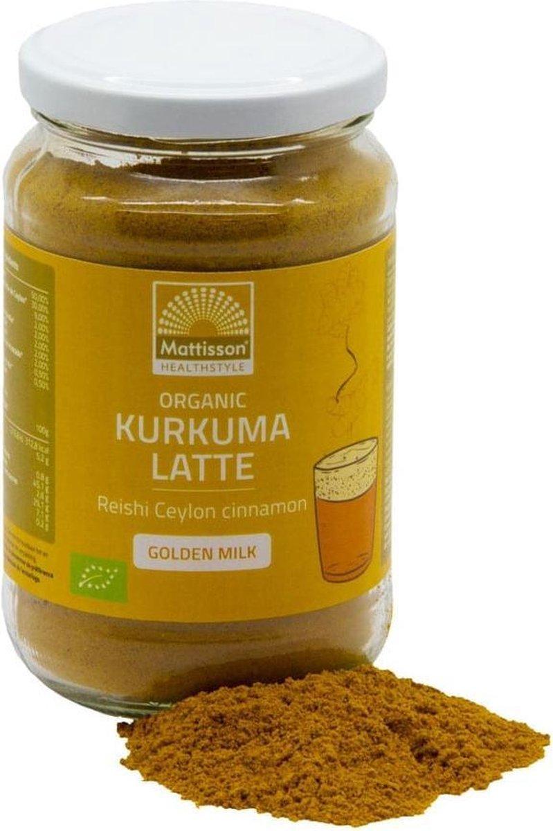 Mattisson / Biologische Kurkuma Latte  Goldenmilk  Ongezoet   Reishi Ceylon Kaneel - 160 gram (MT209