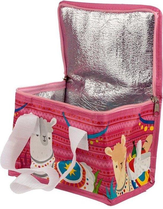 Koeltas lama/alpaca print roze 20.5 cm 4 liter - Koelboxen/koeltassen - Picknick/strand