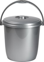 1x Afsluitbare emmers met deksel 15 liter zilver - Afval scheiden - Afvalemmer/vuilnisemmer - Schoonmaken/reinigen - Wasemmer