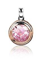 ZINZI zilveren ronde hanger rosé verguld roze ZIH050RR