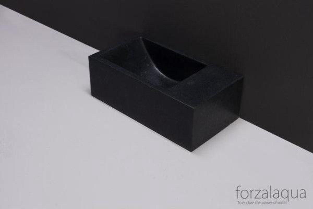 Forzalaqua Venetia Xs fontein 29x16x10cm geen kraangat rechts rechthoek graniet gezoet antraciet