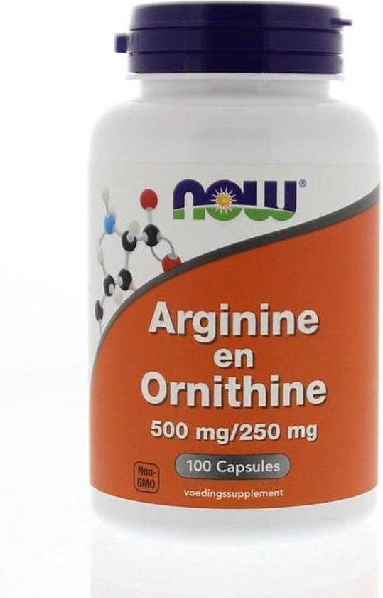 Now Arginine & Ornithine 500/250 mg Capsules 100 st