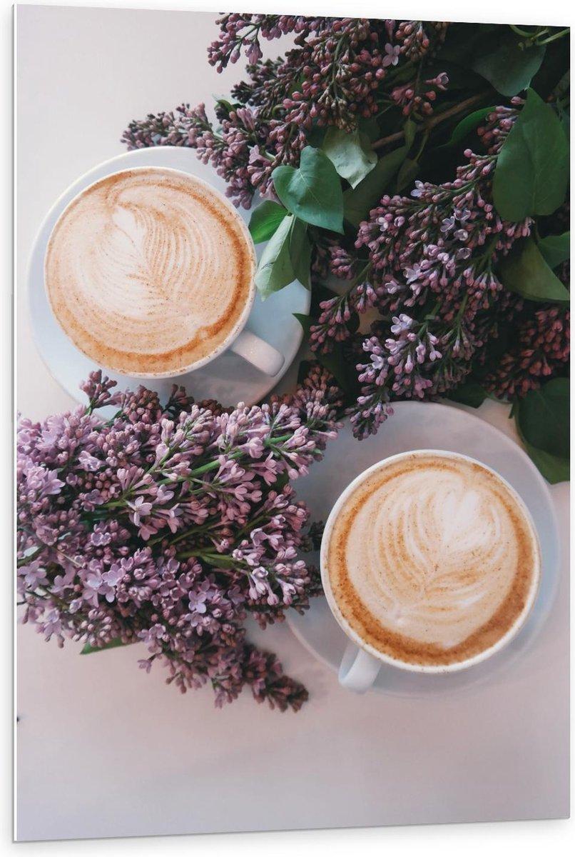 Forex - Twee Kopjes Koffie bij Bloemen - 80x120cm Foto op Forex
