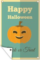 'Happy Halloween' met een pompoen en een turquoise achtergrond tuinposter los doek 120x180 cm - Tuindoek / Buitencanvas / Schilderijen voor buiten (tuin decoratie) XXL / Groot formaat!