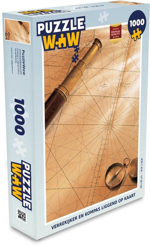 Puzzel 1000 stukjes volwassenen Ouderwets navigatiemateriaal 1000 stukjes - Verrekijker en kompas liggend op kaart  - PuzzleWow heeft +100000 puzzels