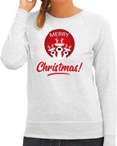 Rendier Kerstbal sweater / Kersttrui Merry Christmas grijs voor dames - Kerstkleding / Christmas outfit S