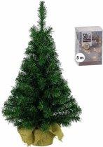 Volle mini kerstboom/kunstboom groen 45 cm inclusief warm witte kerstverlichting