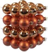 36x Goudsbloem oranje glazen kerstballen 6 cm - mat/glans - Kerstboomversiering goudsbloem oranje mat en glanzend