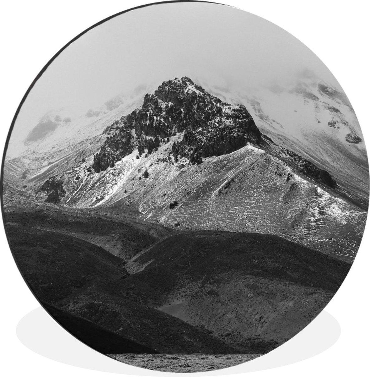 WandcirkelEcuador aluminium - Chimborazo vulkaan in Ecuador - zwart-wit -   30 cm - rond schilderij - fotoprint op aluminium / dibond / muurcirkel / wooncirkel / tuincirkel (wanddecoratie)