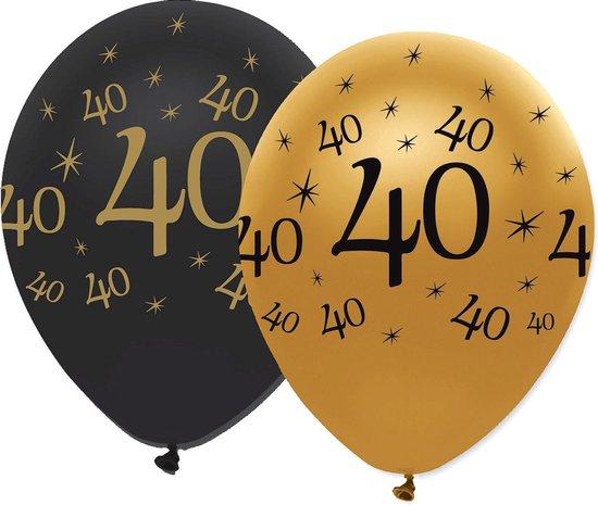 CREATIVE PARTY - 6 zwarte en gouden 40 jaar ballonnen - Decoratie > Ballonnen