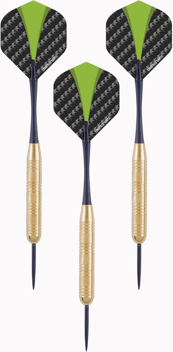 1x Set van 3 dartpijlen Longfield darts brass 21 grams - Darten/darts sport artikelen pijltjes messing - Kinderen/volwassenen