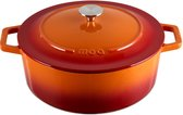 MOA Gietijzeren Pan - Braadpan - 30 cm - Rond - ook voor Inductie - Oranje Rood - C30OR