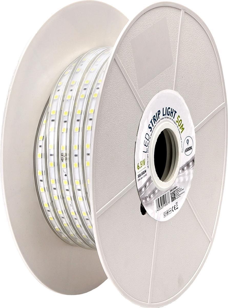 LED Strip - Aigi Stribo - 50 Meter - Dimbaar - IP65 Waterdicht - Helder/Koud Wit 6500K - 5050 SMD 230V - BSE