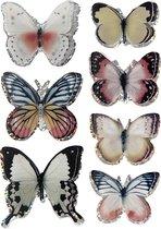 3D stickers. diverse kleuren. vlinders. afm 26-48 mm. 7 stuk/ 1 doos