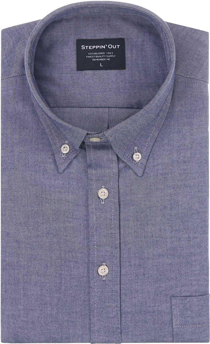 Steppin' Out Mannen  Brushed Cotton Button Down Blauw Katoen Maat: XL