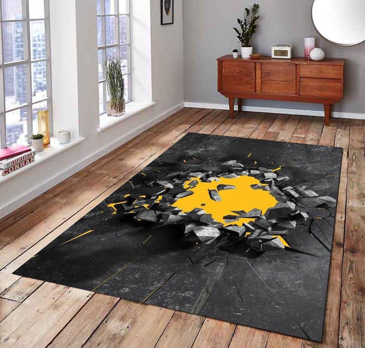 Herms-3D Crack 5 Patterned Rugs-Vloerkleed-Antislip-160x230 cm