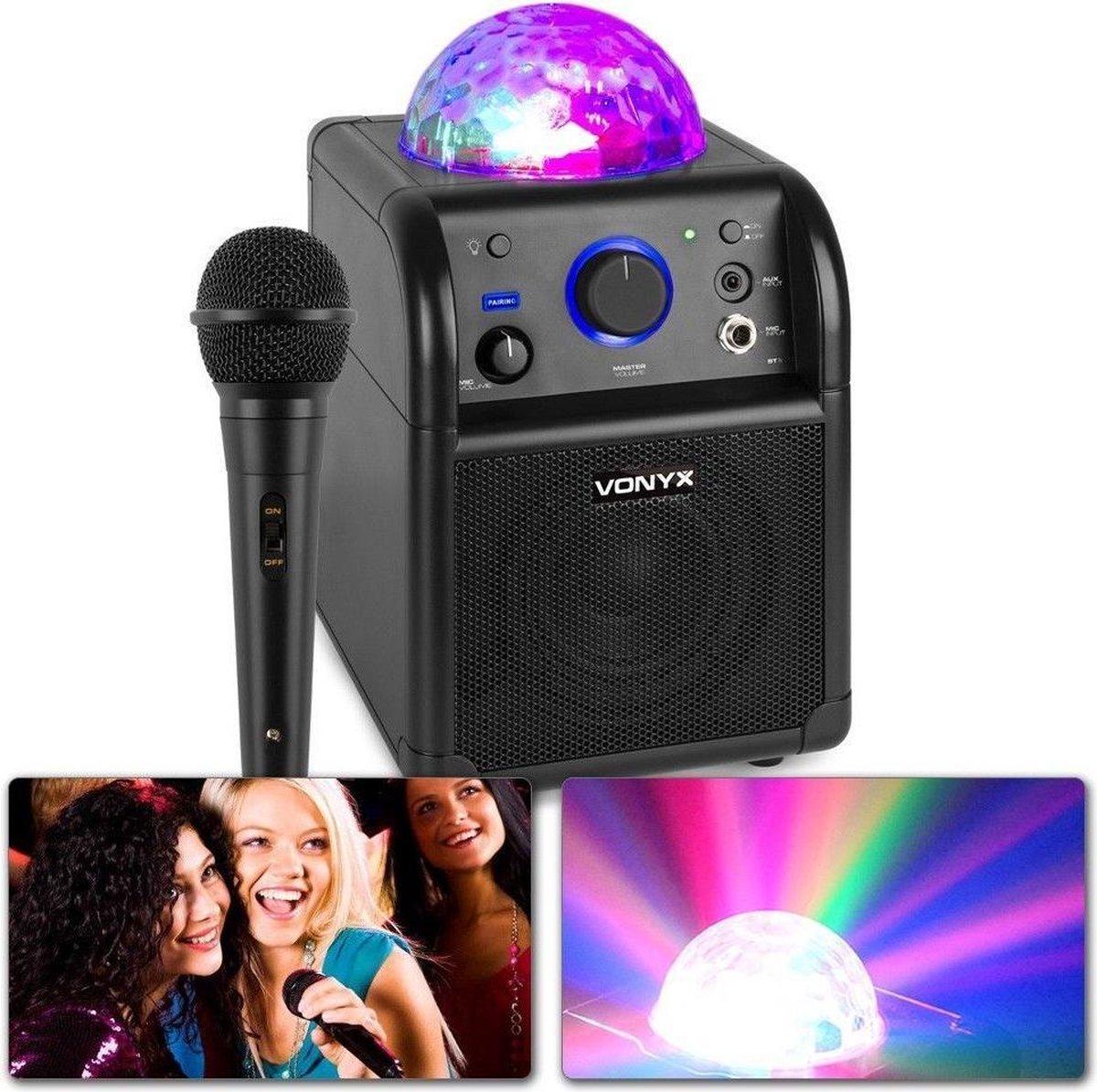 Karaoke set - Vonyx SBS50B Zwarte karaoke set op accu met Bluetooth, microfoon met echo effect en LE