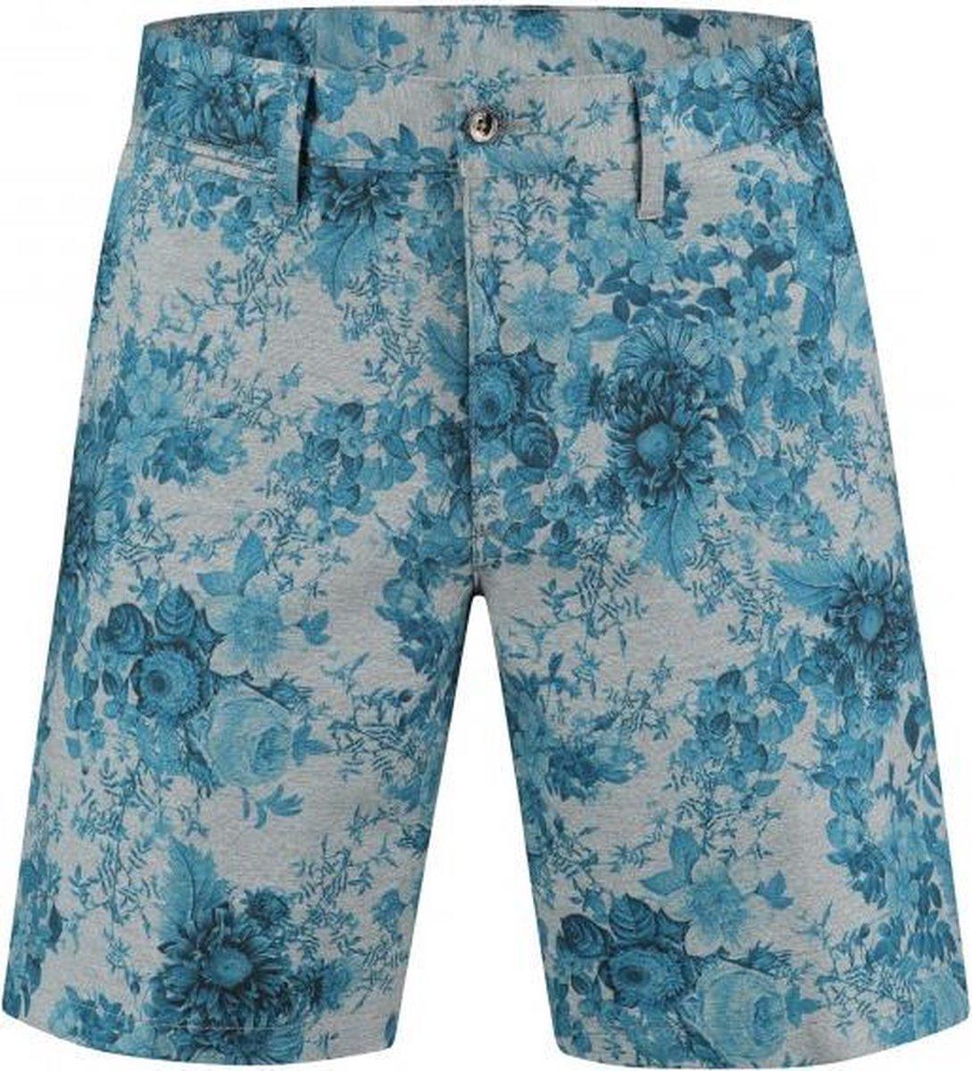 GENTS | jersey print bloem grijs-blauw 0080 Maat 50