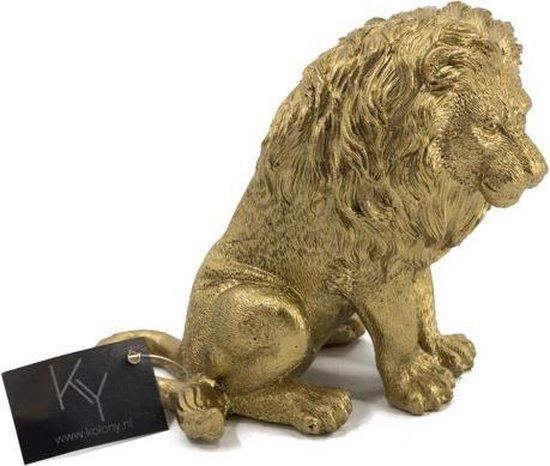 Leeuw - Polystone - Goud - 15.5cm - Beeld - Decoratie