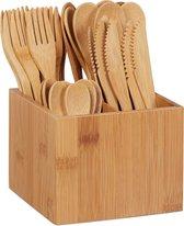 relaxdays bamboe bestekset - bestek hout - lepel vork mes theelepel - 41-delig eetbestek