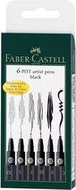Faber-Castell - 6 pitt Artist Pen, brush - Black (167116)