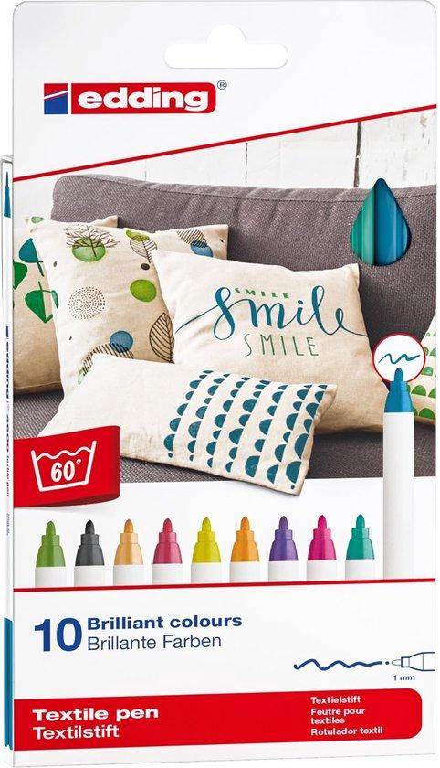 Afbeelding van edding 4600 Textielstiften - Set van 10 textielmarkers - Wasbestendig - Schrijfdikte van 1 mm