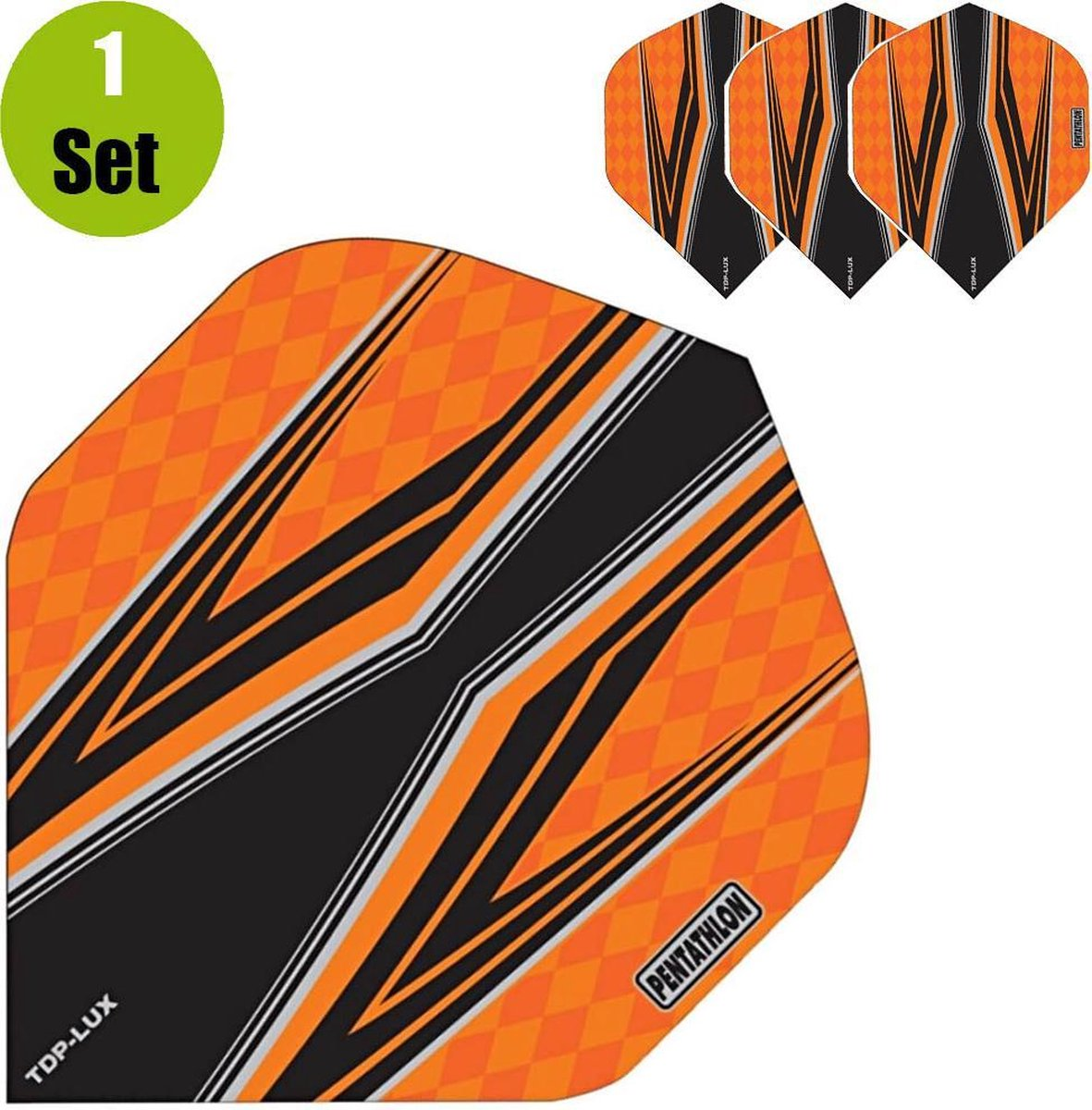 Pentathlon TDP Lux Vision Black Dartflights - Oranje- ()