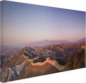De Chinese Muur bij zonsopgang Canvas 30x20 cm - klein - Foto print op Canvas schilderij (Wanddecoratie woonkamer / slaapkamer)
