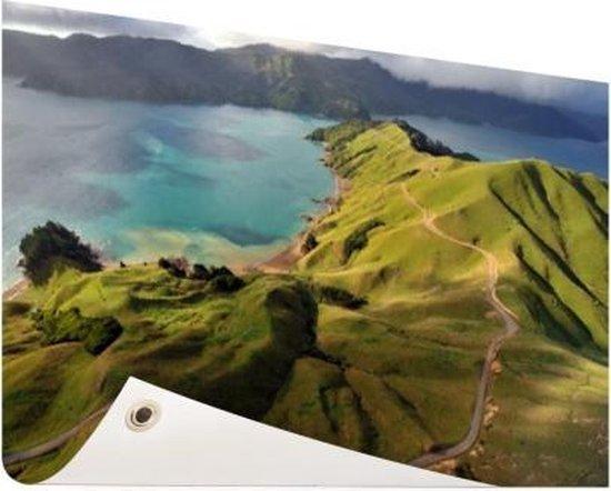 Luchtfoto Marlborough Sounds Tuinposter 200x100 cm - Tuindoek / Buitencanvas / Schilderijen voor buiten (tuin decoratie) XXL / Groot formaat! / Zee en Strand