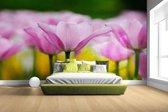 Fotobehang vinyl - Tulpenbloesems breedte 380 cm x hoogte 265 cm - Foto print op behang (in 7 formaten beschikbaar)