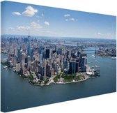 Luchtfoto New York Canvas 60x40 cm - Foto print op Canvas schilderij (Wanddecoratie woonkamer / slaapkamer) / Steden Canvas Schilderijen