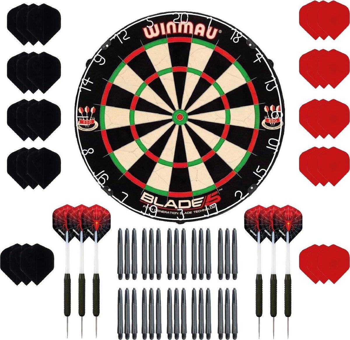 Winmau Blade 5 - dartbord - plus 2 sets - dartpijlen - plus 30 - dartflights - plus 30 - dartshafts - cadeauset