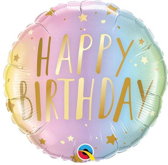 Folie ballon Happy Birthday Pastel - 46 cm