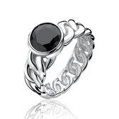 Zinzi ZIR65654 Ring - Zilver - Gourmet - Zwart - Maat  54
