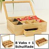 Decopatent® XL Theedoos  9 Vaks - Luxe grote theedoos 9 vaks - Met doorzichtig venster - Bamboe - Hout - 9 vaks theekist voor thee